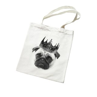Notorious PUG Jaguar Animal Bunny young simple fresh canvas literary environmental shoulder bag handbag - beige