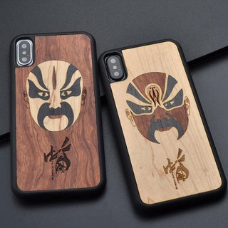 Facial Make-up Wooden Phone Case For Iphone 8 X 7 6 S Plus Chinese Culture