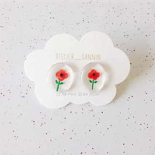 Illustrator note series - small Zhu Xi stickers ear hand-painted resin handmade earrings ear / ear clip