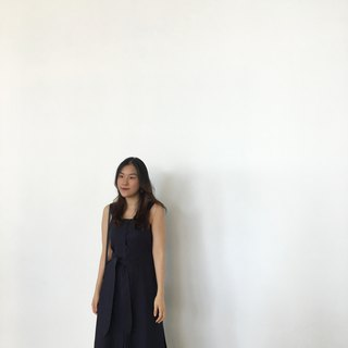 Dark Blue Straight Line Sleeveless  Linen Dress