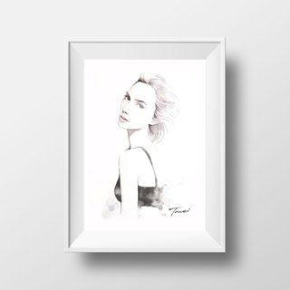 Actress Sylvain Watercolour/Nordic Style Pencil Sketch Watercolor/Gift Accessories