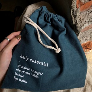 Daily essential/blue green linen environmental protection harness pocket