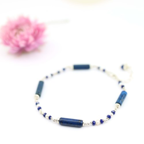 [ColorDay] lapis lazuli _ natural pearl sterling silver bracelet <Lapis Lazuli_Natural Pearl Silver Bracelet>