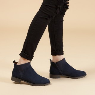 [English memories] stretch Lycra simple leather ankle boots - deep sea blue (3M leather upgrade version)