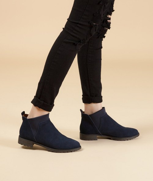 [British memories] elastic Lycra simple leather boots - deep blue