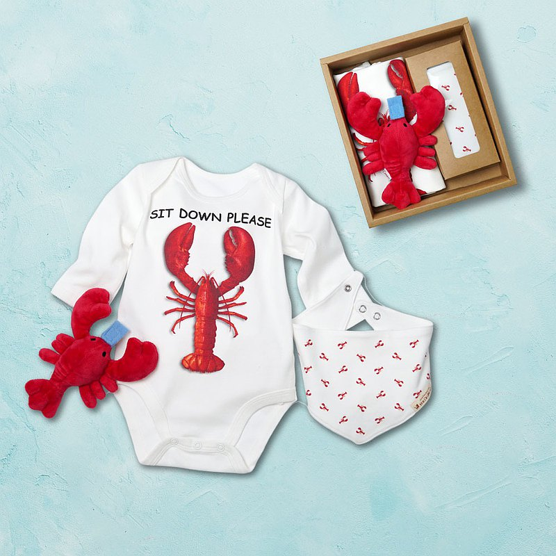 Lobster long sleeves Bodysuits (White) & Pacifier Holder&Bibs - Baby Gift