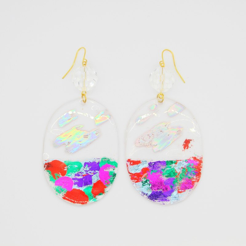 Brighting WHITE - back light color - color glossy hand painted crystal particles baked earrings ear clip