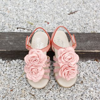 Flower blossoming small lady sandals - berry powder