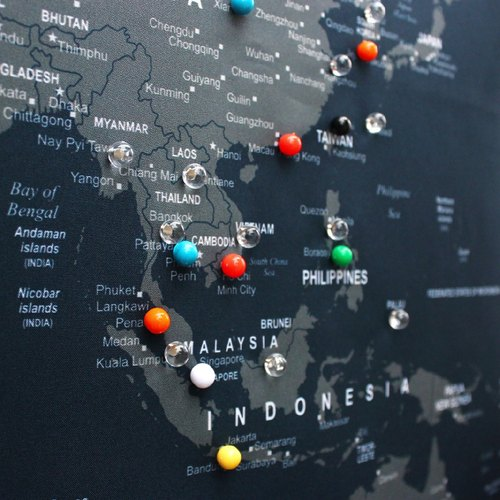 World Map Pins, Push Pins, Colorful Pins, Ball Pins