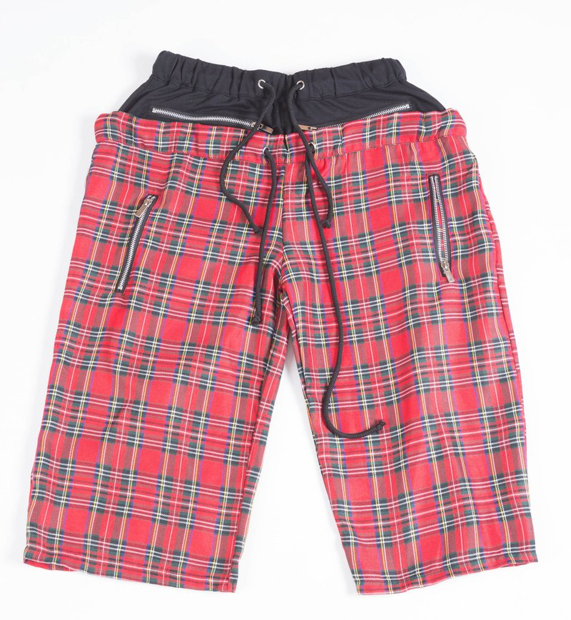 Double PUNK drawstring plaid shorts