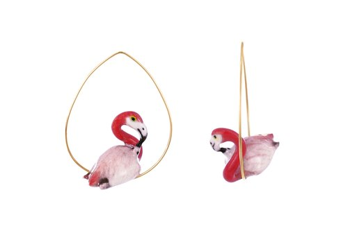 Flamingo Creoles Earrings