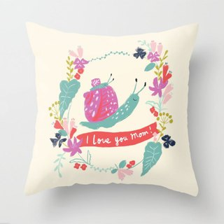 Mother's Day Gift I love you mom! Small Snail and Mommy Flower Hold Pillowcase - No Pillow - Cream