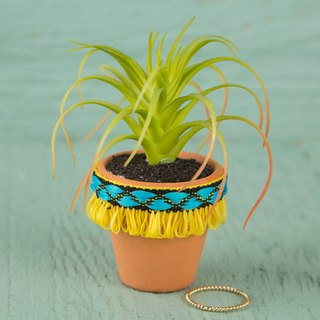 Ribbon shape mini clay potted plant - yellow | PLNT006