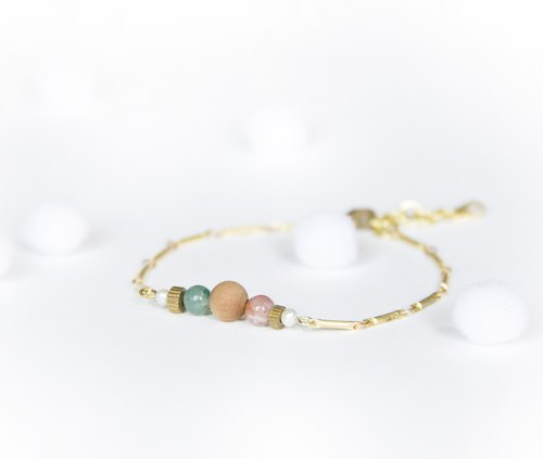 Simple linear bracelet / Christmas ball - colorful jade sandalwood small brass pearl bracelet Christmas gifts