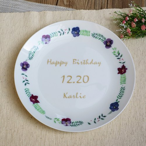 8-inch bone china plate - unconditional love pansy wreath commemorative tray customized products / birthday gift / pansy / wedding gift / thank you gift / microwave / through SGS