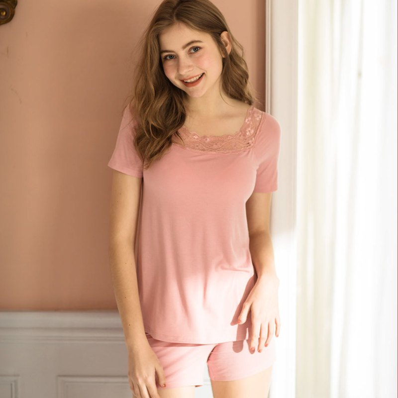 [Exclusive 2in1] 2nd Generation No-Maid Girls Face Lace Modal Cotton Two Pieces Home Wear - Rose Powder