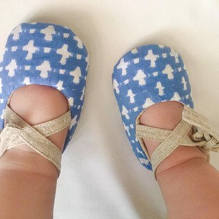 125 Japan Blue White Cross X Japan dyeing cloth handmade strap baby shoes baby shoes toddler shoes