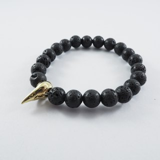 Crow skull bead 8 mm. Lava stone bracelet  in brass ,men jewelry