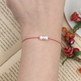 *Le Bonheur Line happy line*around the source of natural pearl 925 sterling silver ring / red line bracelet redline marriage line month old hand rope double beads temperament noble