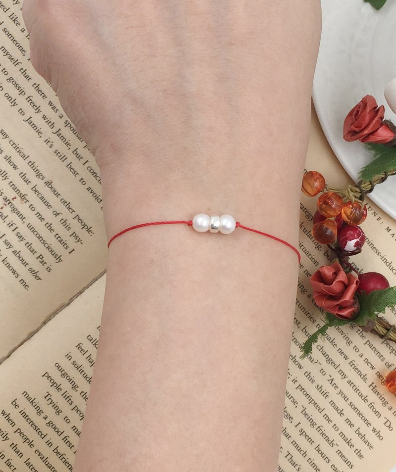 Happiness line around the source pearl sterling silver ring red line bracelet redline month old hand rope beads
