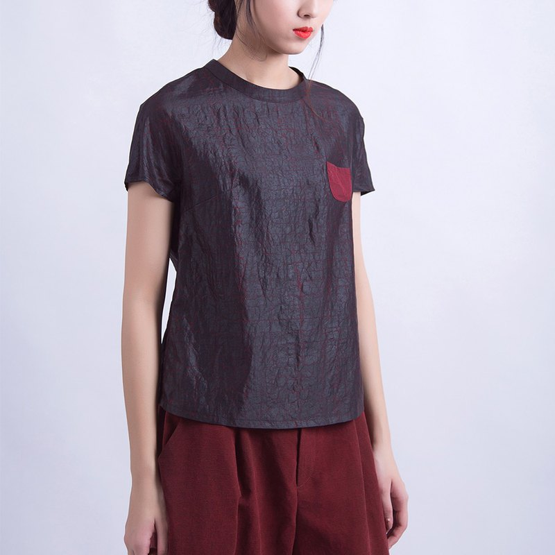 Brown silk veil short sleeve shirt T-shirt