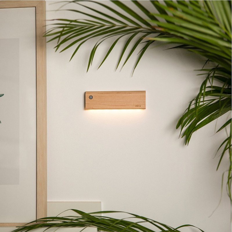 Hong Kong ZIISTLE Dot & Line natural wood human body induction touch night light (2 colors)