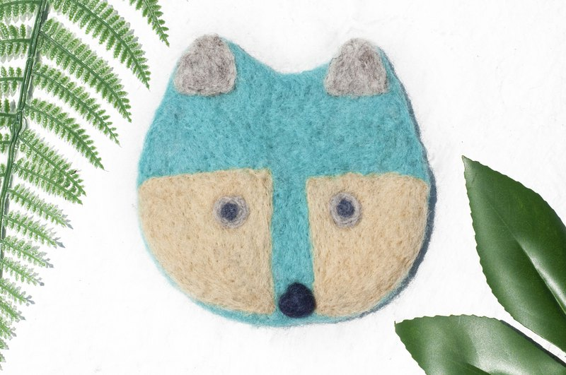 Exchange gifts ethnic wind forest wool felt coasters animal animal coasters - blue fox absorbent coasters