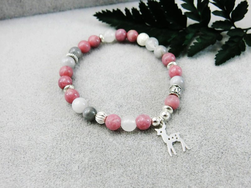 Pink Fawn Natural Stone Silver Bracelet in the Forest │ Pink Gray System 玥unicorn Elk