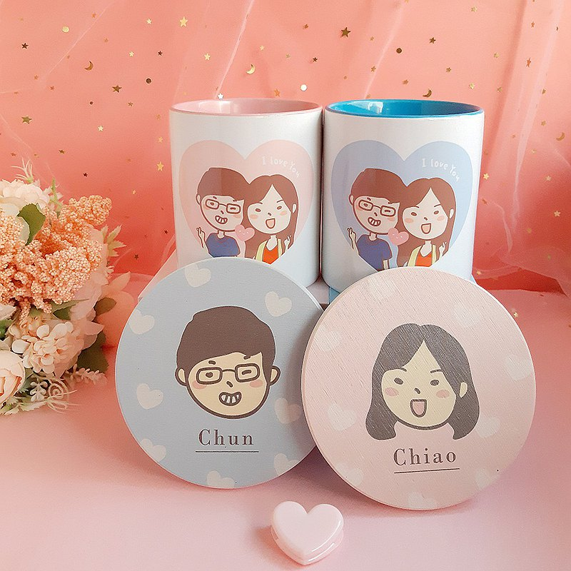 Limited Sweet Couple Pair Cup Combination, Customized Mug + Big Head Q Edition Dialuminum Absorbent Coaster Gift