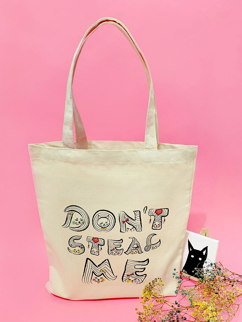 Don't steal my English alphabet canvas bag