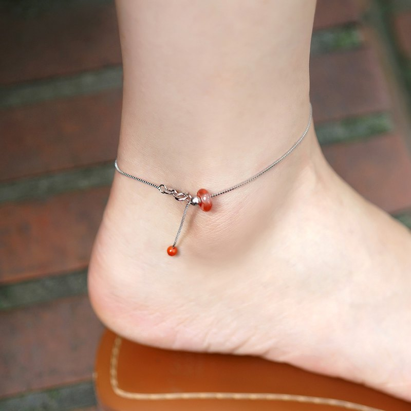 Mini safety buckle transfer anklet VISHI s925 sterling silver natural ice floating South red agate bread ring