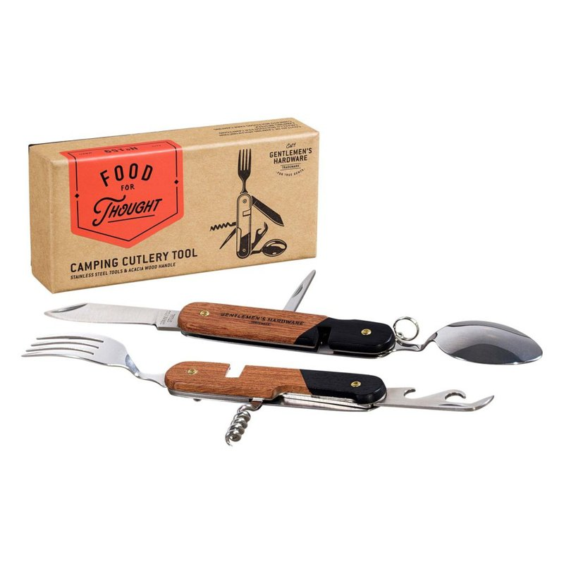 Classic outdoor camping multi-function knife and fork tool set - wooden grip