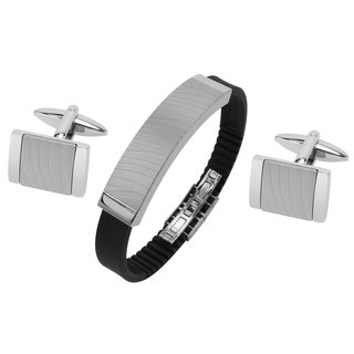 Stainless Steel Zebra Texture Cufflinks and Bracelet Set