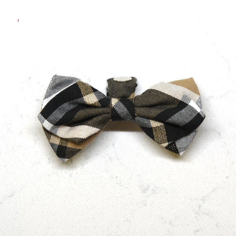 Handmade Tartan/ Plaid Pet Dog Collar Accessory - Bowtie - Noble Black【ZAZAZOO】