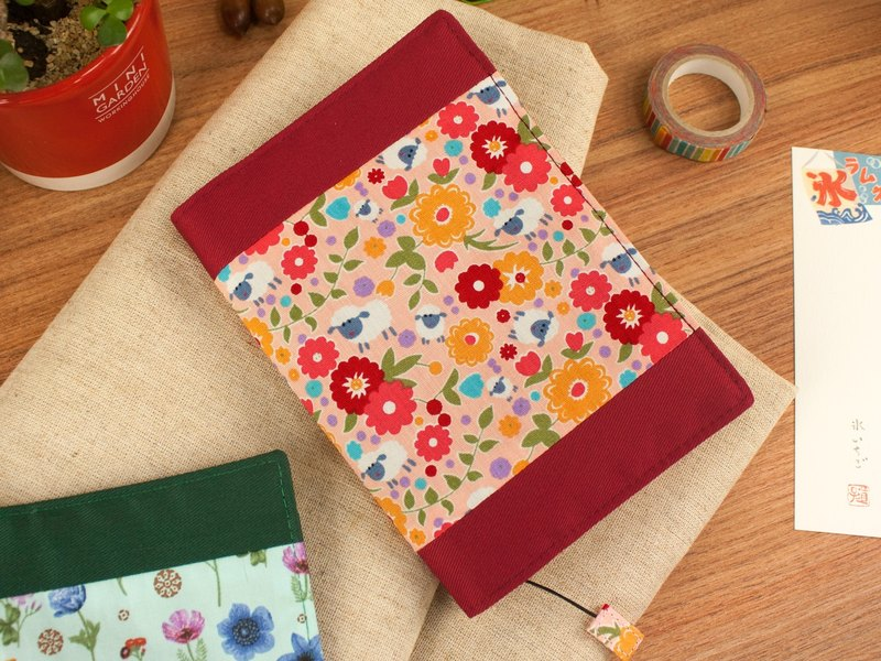 [Book の clothing] limited A6/50K adjustable multi-function cotton cloth book-C lamb with small flowers / powder