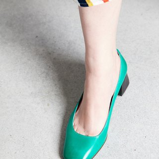 H THREE classic square heel shoes / green / rough with / retro