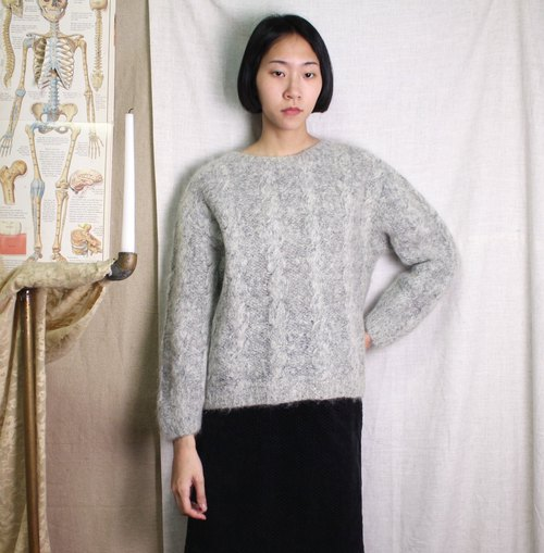 FOAK Vintage Thick Hare Grey Twist Sweater
