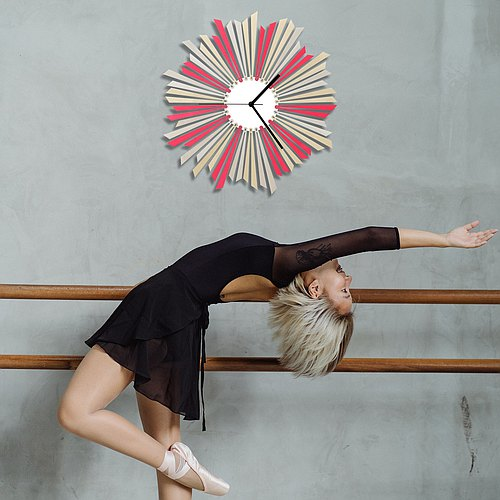 The star - contemporary large sized silver + pink wooden wall clock, a piece of wall art