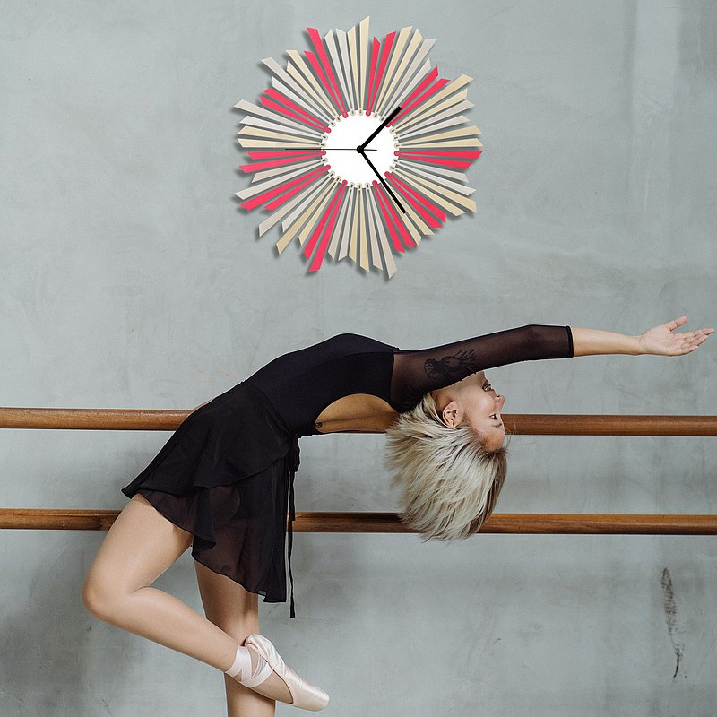 The star - contemporary large sized silver + pink wooden wall clock,