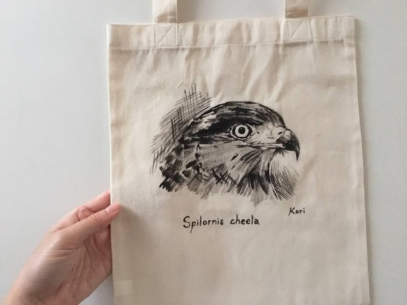 Pure hand-painted bird cotton shopping bag ‧ big crown