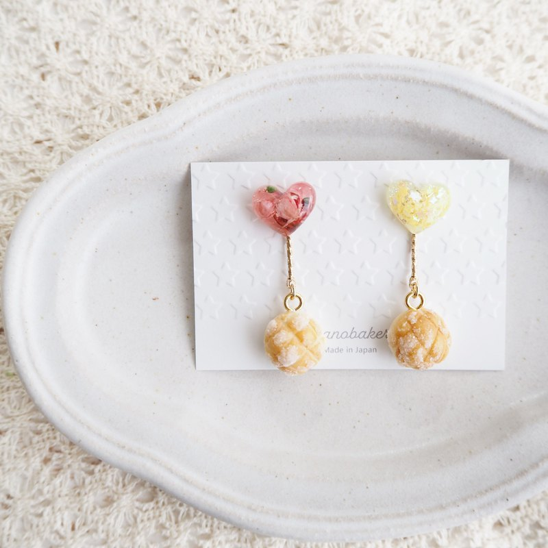 Resin heart and melon bread accessories