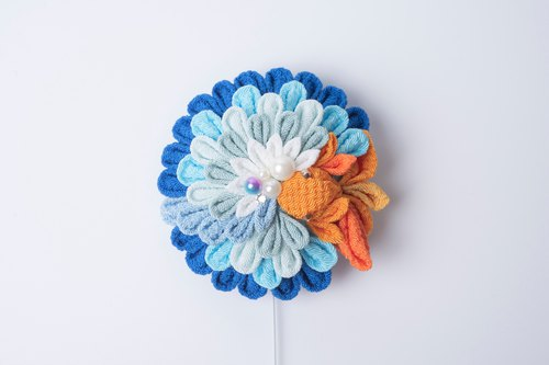 [湖澄こすみ]つまみ细工/ Goldfish 5 section lake flower semi-finished products (blue) 髪簪