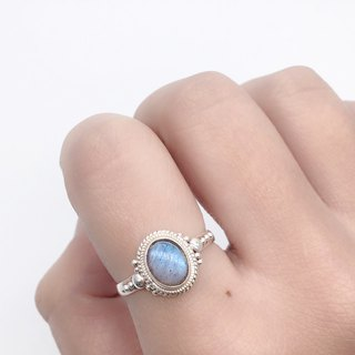 Labradorite Elegant Ring in Sterling Silver Made in Nepal by hand