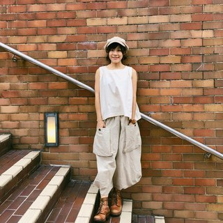 Baiyun linen wide pants with angular edges | Khaki