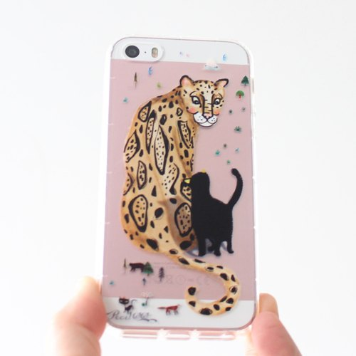 Leopard & black Cat phone case _ iPhone, Samsung, HTC, LG, Sony