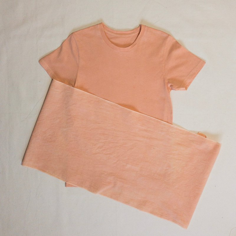 ORANGE MUD COLOR TEE, TENUGUI SET - Mudding dyed muddy organic cotton