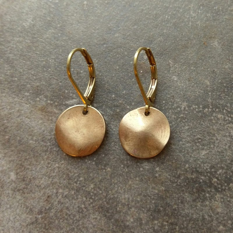 Wavy Brass Disc Earrings