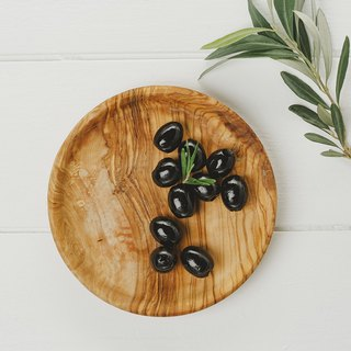 British Naturally Med Boutique Kitchen Olive Wood 15cm Small Plate / Disc / Display Plate