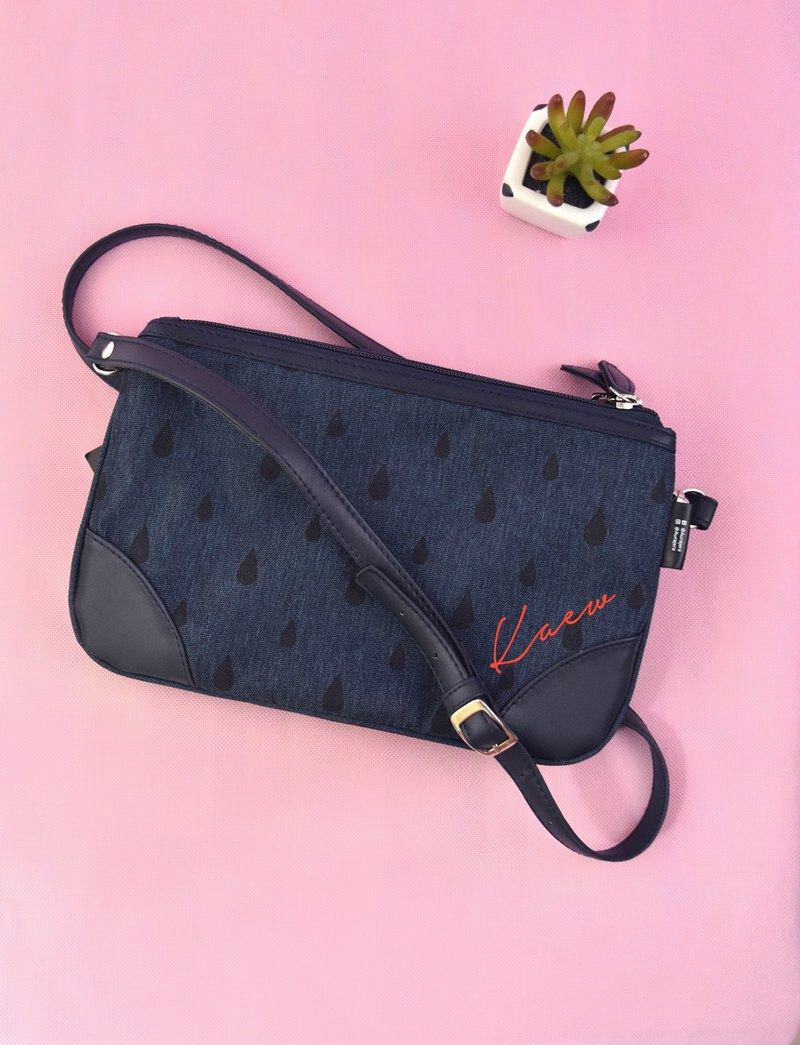 Dark blue double Zip crossbody Purse /customize your name on the bag