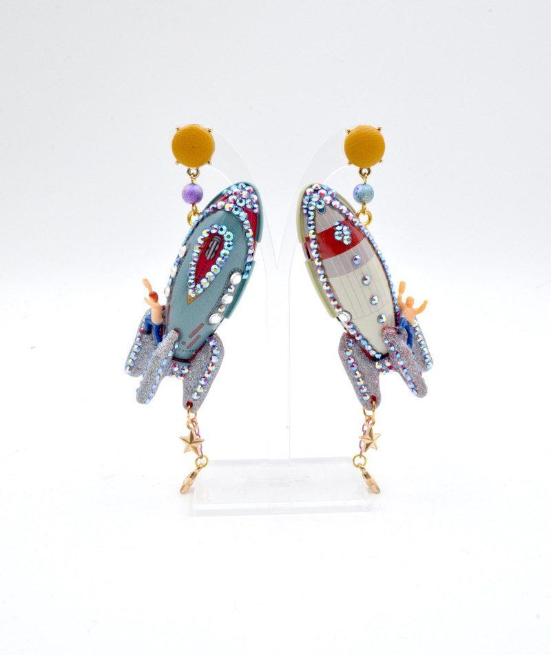 Retro Iron Rocket Astronaut Earrings with Swarovski Crystal Swarovski Ultra Light Handmade